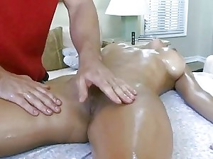 Darling rides on boys man sausage after oil massage