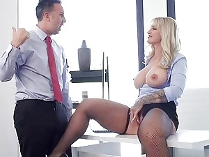 Busty milf Ryan Conner anal office pound