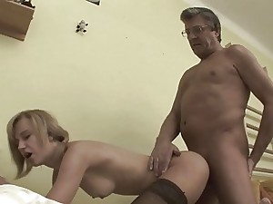 Brief Haired Blonde Stepdaughter Fucked Pantyhose