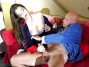 Taut Young Teen Gets Jizz Face Pussy Sex Old Man