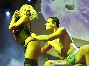 naked blondie lapdance on public stage