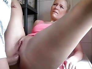 Anal plow in the washing apartment for a German call girl