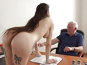 Youthful Girl Fucked by Old Man Office Gargle