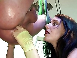 Luscious strap-on Mistress knows how to vibrate masked slave's guts