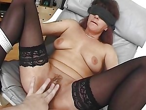 Eyes covered and Corded Mama Fucked With Facial