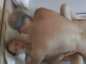 Oldman hotel customer drills a kinky young maid