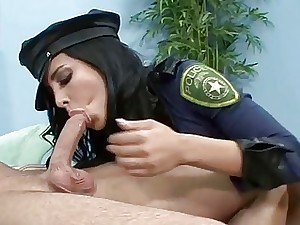Busty stunner Lacy Cruz in a police costume and takin