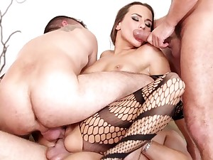 Nasty breezy getting porked by four huge cocks
