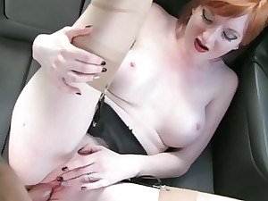 Busty hot redhead non-specific rode more chum around with annoy backseat
