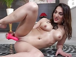 Wetandpissy  Make headway wet Jimena toys a yon top form dildo yon seek get under one's company of