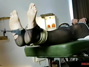 Leather Femdom - sole caning