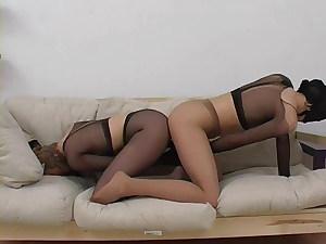 Lezzie encasement tights 01