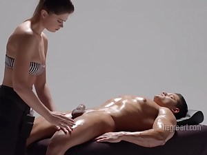 Horny chick gives her stud an amazing and nasty handjob