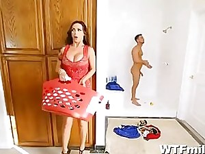 Killer girl in crimson dress and her lover invited a damsel to join them while having fuckfest