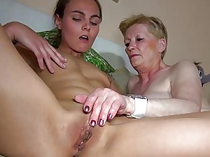 Correct young ungentlemanly with an increment of age-old granny masturbated